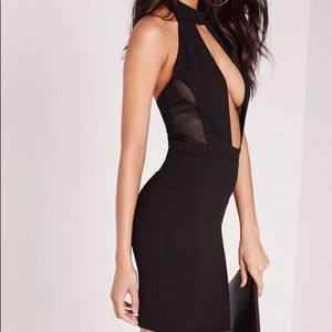 choker mesh insert keyhole bodycon dress black